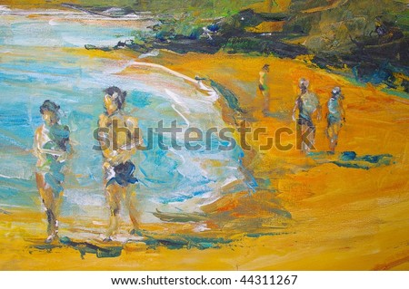 original oil painting on canvas for giclee, background or concept beach scene - stock photo