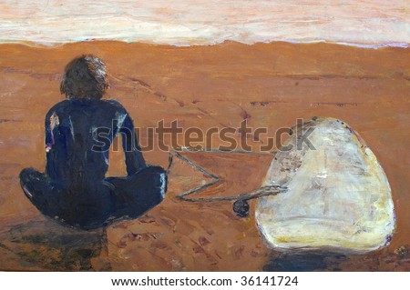 original oil painting on canvas for giclee, background or concept, boy in wetsuit on beach - stock photo