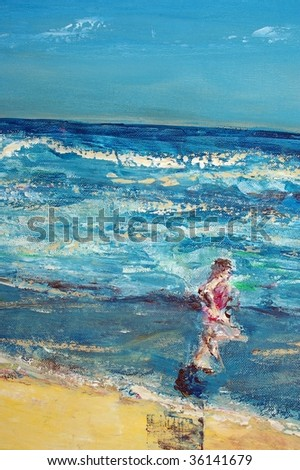 original oil painting on canvas for giclee, background or concept. child running on beach - stock photo