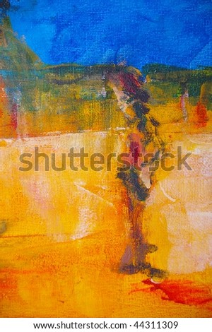 original oil painting on canvas for giclee, background or concept featuring man in outback scene - stock photo