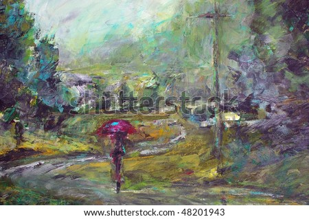 original oil painting on canvas for giclee, background or concept.impressionist painting of person with umbrella