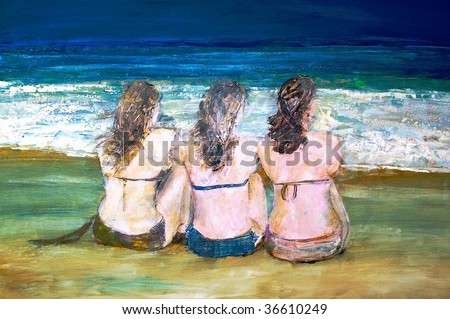 original oil painting on canvas for giclee, background or concept. portrait of bikini women - stock photo