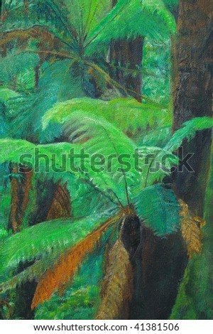 original oil painting on canvas for giclee, background or concept. Rainforest environment landscape - stock photo