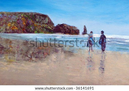 original oil painting on canvas for giclee, background or concept . two boys in wetsuits with boogie boards on beach - stock photo