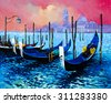 Original oil painting on canvas.Modern art.Beautiful gondolas at sunset.Painted by Velin Iliev. - stock photo