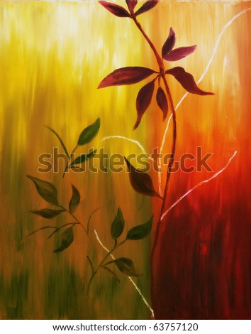 Original oil painting on canvas of autumn leaves on warm fall background - stock photo