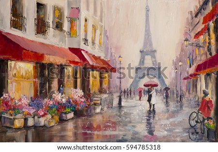 original oil painting on canvas paris eiffel tower a pair of lovers under - Free Painting Pictures