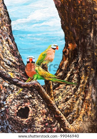 Original oil painting on canvas - parrots on the branch