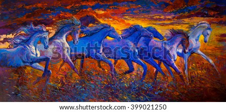 Original oil painting on canvas. Running horses-Modern impressionism - stock photo