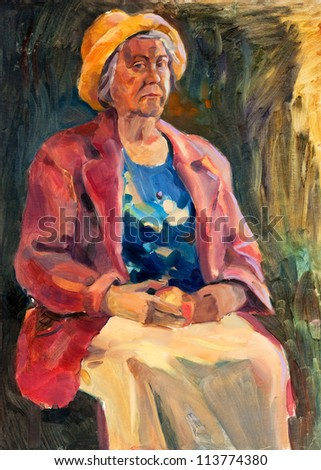 Original oil painting on canvas showing a senior woman sitting and holding apple.Modern Impressionism - stock photo