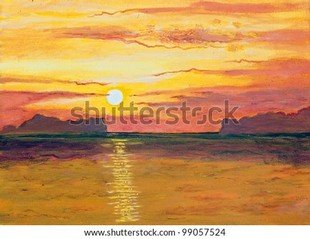 Original oil painting on canvas - sunset in the ocean - stock photo