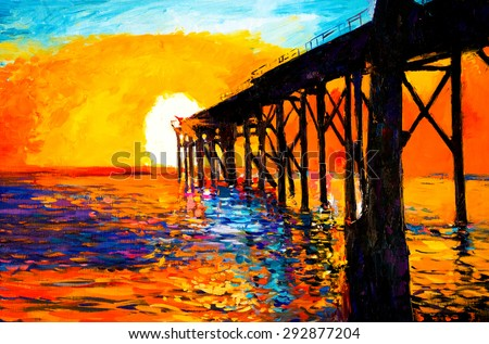 Original Oil Painting on Canvas- Sunset over the bridge- Modern impressionism by Nikolov - stock photo