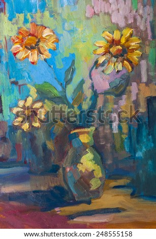 Original oil painting on canvas.Vase with still life a bouquet of flowers. - stock photo
