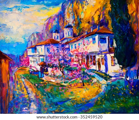 Original oil painting on canvas. White houses with flowers and blue sky. Modern impressionism  - stock photo