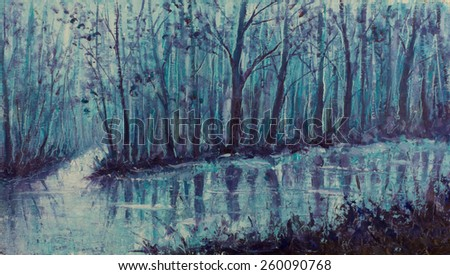 Original oil painting scary forest, beautiful magical creek on canvas. River in the mystical forest. Modern Impressionism. Impasto artwork. - stock photo