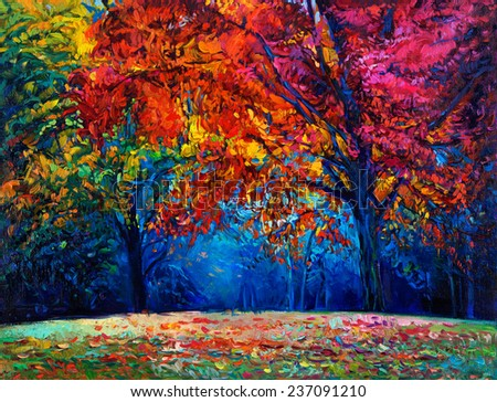 Original oil painting showing beautiful Autumn forest on canvas. Modern Impressionism - stock photo