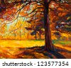 Original oil painting showing beautiful autumn landscape.Big old tree in the forest. Modern Impressionism - stock photo