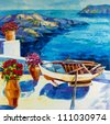 Original oil painting showing  white houses and flowers of Oia village at Santorini island with sea view. Greece.Modern Impressionism - stock photo