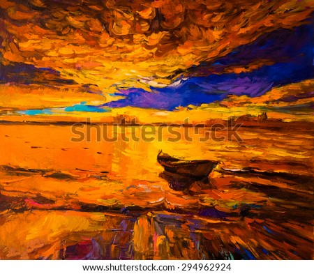 Original oil painting- sunset colors -Modern impressionism - stock photo