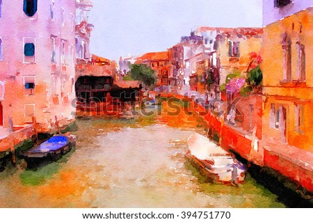 Original Painting Of a beautiful Venice Canal