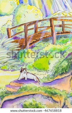 Original painting of a tabby and white cat lying down in a garden with a bridge..