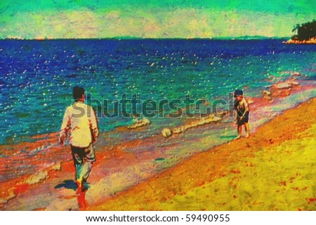 original painting of father and son playing soccer on beach - stock photo