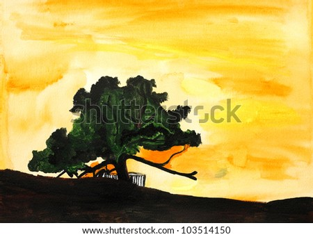 Original painting of tree of life on sunset in Bahrain, a child art