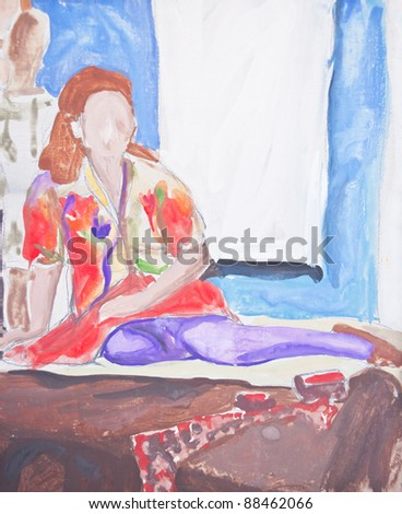 Original painting of woman sitting on bed - stock photo