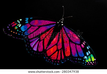 Original pastel painting.Modern art.Beautiful colorful butterfly on a black background.Painted by Velin Iliev. - stock photo