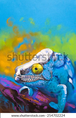 Original pastel painting on cardboard.Beautiful blue chameleon hidden in the woods. - stock photo