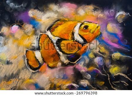 Original pastel painting on cardboard. Beautiful Clown fish. Modern art. - stock photo