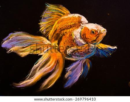 Original pastel painting on cardboard. Beautiful gold fish. Modern art. - stock photo