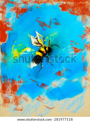 Original pastel painting on cardboard. Hornet bee on abstract background. - stock photo