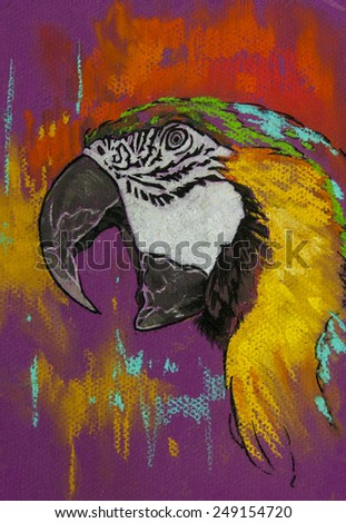 Original pastel painting on paper.Beautiful parrot on purple background. - stock photo