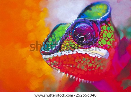 Original pastel panting on paper.Colorful chameleon on a tree. - stock photo