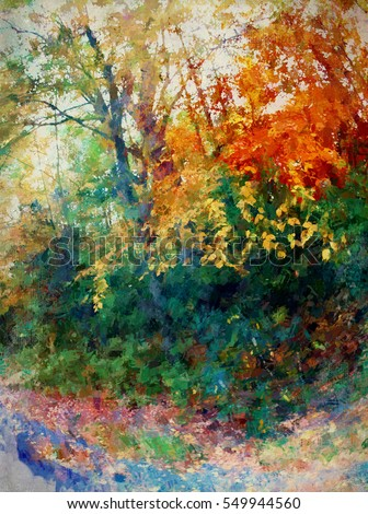 Original photograph of Autumn trees transformed into a colorful abstract painting