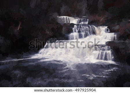 original photograph of Factory Falls in Dingmans Ferry, Pennsylvania turned into a toned painting. Factory falls is located in George W Childs State Park.