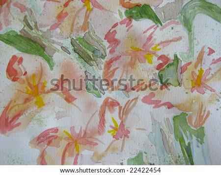 Original Pink Watercolor Floral 5 - stock photo