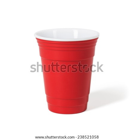 Original red cup. Isolated on white background. - stock photo
