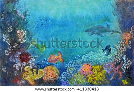Original textured impasto oil pastel drawing of an underwater scenery that includes a variety of fish, algae, and other various forms of underwater organisms.