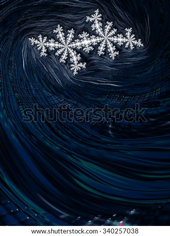 Original twin snowflake on deep sea blue fractal design background - Fall winter 2015 2016 fashion color trends collection - stock photo