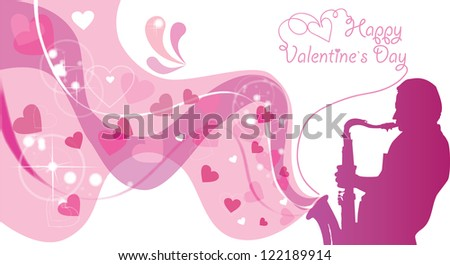 Original valentine with saxophonist and hearts. Raster copy of vector image - stock photo