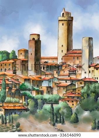Original watercolor painting depicting San Gimignano in Tuscany, Italy.  - stock photo