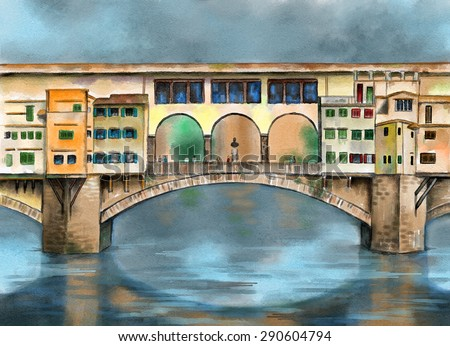 "Original watercolor painting depicting the ""ponte vecchio"" bridge from Florence in Tuscany, Italy. - stock photo"