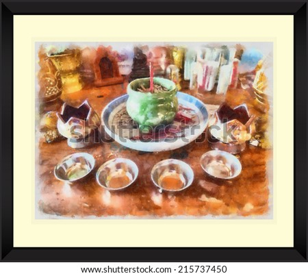 Original watercolor painting of buddhism altar with black frame, art background illustration - stock photo