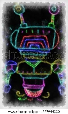 Original watercolor painting of robot claus,art illustration - stock photo