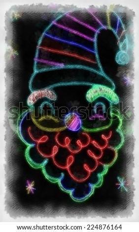 Original watercolor painting of Santa claus,art illustration - stock photo
