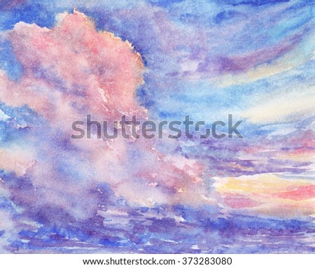 Original watercolor painting of  sunset - stock photo