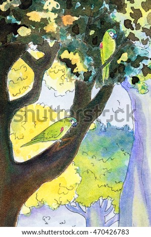 Original watercolor painting of two Hahn's macaw parrots perching in a tree.