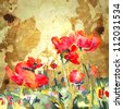 original watercolor poppy flower in gold background. Raster version - stock photo